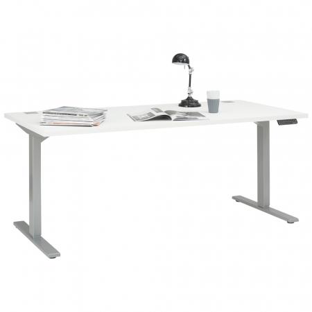 Höhenverstellbarer eDJUST Schreibtisch weiß-matt