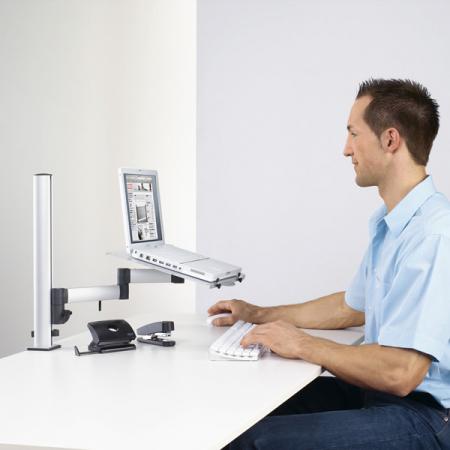novus schreibtisch notebook laptop halterung f r tss dss s ulen. Black Bedroom Furniture Sets. Home Design Ideas