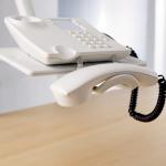 Novus Telefonschwenker TALKMASTER lichtgrau 2 Gelenkarme Zwinge1